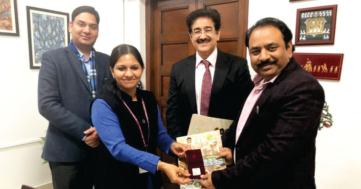 Mr. Sandeep Marwah (Director) Asian Academy of Film & Television, and, Asian School of Media Studies with Ms. Bhavna Saxena (IPS) Special Commissioner APEDB, Mr. Vikas Sharma, Director & Chief executive, CSL.