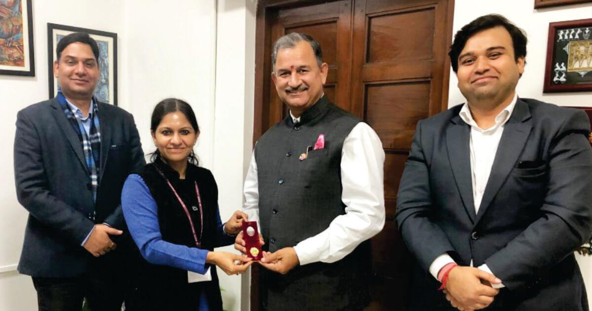 Mr. Ravi Saini (MD)Fortin Holding P.Ltd. with Ms. Bhavna Saxena (IPS) Special Commissioner APEDB, Mr. Vikas Sharma, Director & Chief executive, CSL.