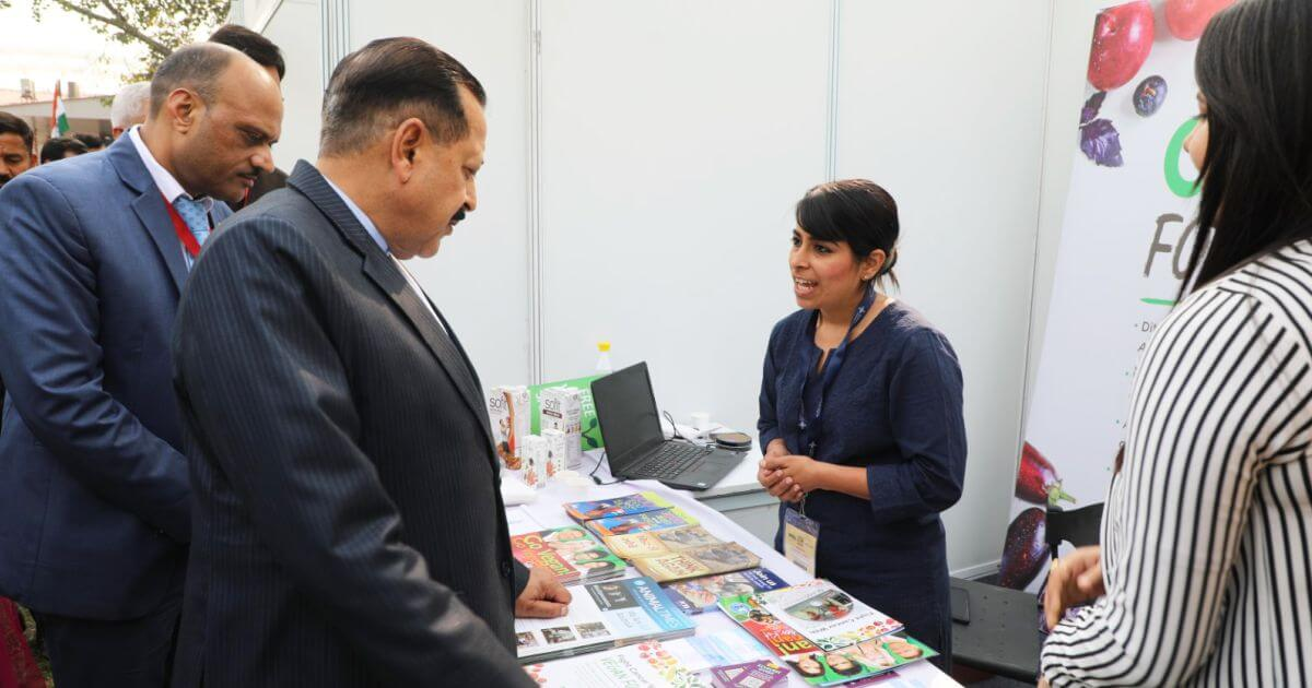 Hon'ble Dr. Jitendra Singh (MoS PMO) checking out the stall of People for the Ethical Treatment of Animals (PeTA)