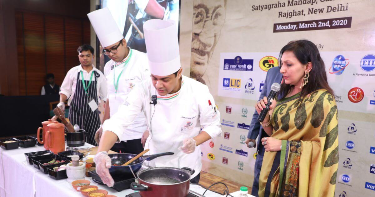 Several dishes inspired by recipes of Gandhi ji were prepared live on stage by celebrity Chef Saby