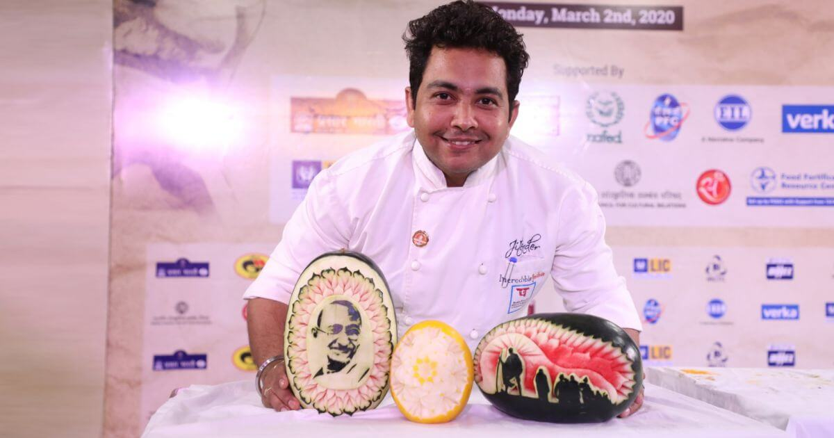 Chef Jitender of The Ashok Hotel (ITDC) made intricate carvings of Gandhi ji on fruit