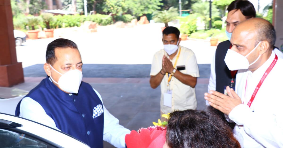 Chief guest Hon'ble Dr. Jitendra Singh Minister of State (I/C) DONER, Minister of State, PMO and PPP arrives at the venue