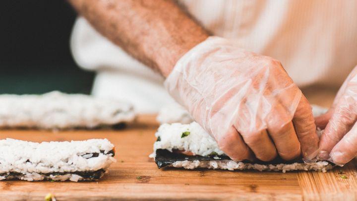 A chef preparing Sushi