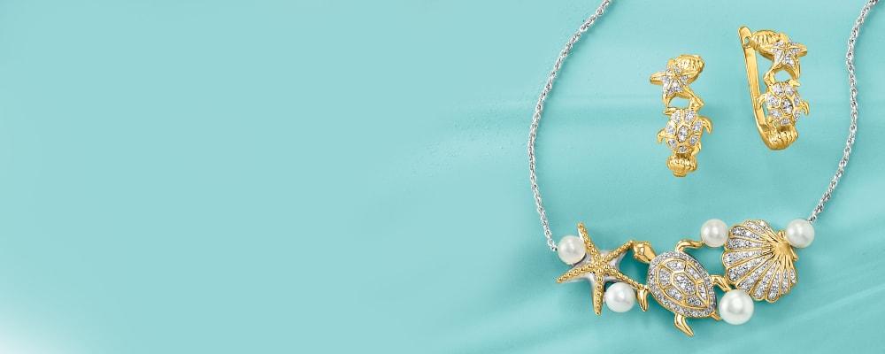 Diamond Sea Life Jewelry. Dazzling and Nautical. Image featuring Diamond Starfish Ring 928276, Diamond Sea Life Bangle Bracelet 928720. Click to shop.