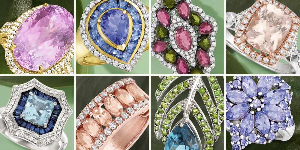 Eight panels featuring different exotic gemstones on a green background.