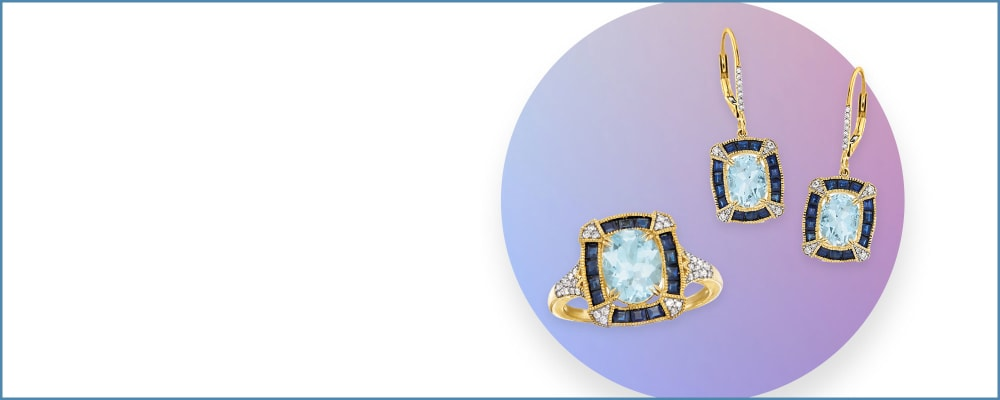 Beautiful Blues. Find Your Favorite Shade in Fabulous Designs. Image Featuring Blue Jewelry on a White Background