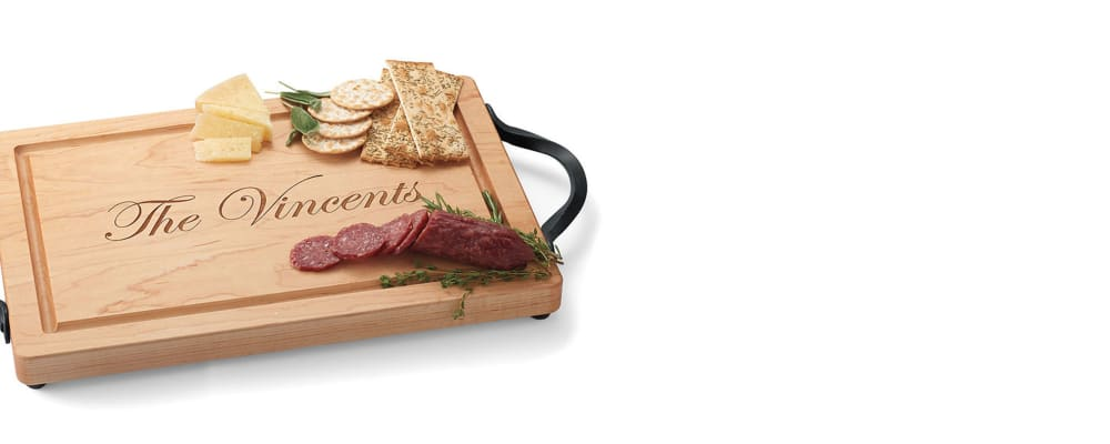 Serveware. Entertaining Made Easy. Image featuring Maple Wood Personalized Rectangular Cutting Board 625800. Click to shop