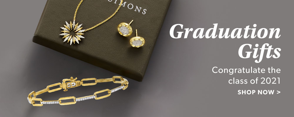 Graduation Gifts. Congratulate The Class of 2021. Shop Now. Image Featuring Gold Bracelet, earrings & Necklace on a Ross-Simons Box