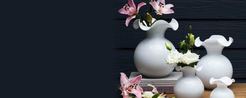 Vietri. Décor Direct From Italy. Image Featuring Assorted White Fluted Glass Vases