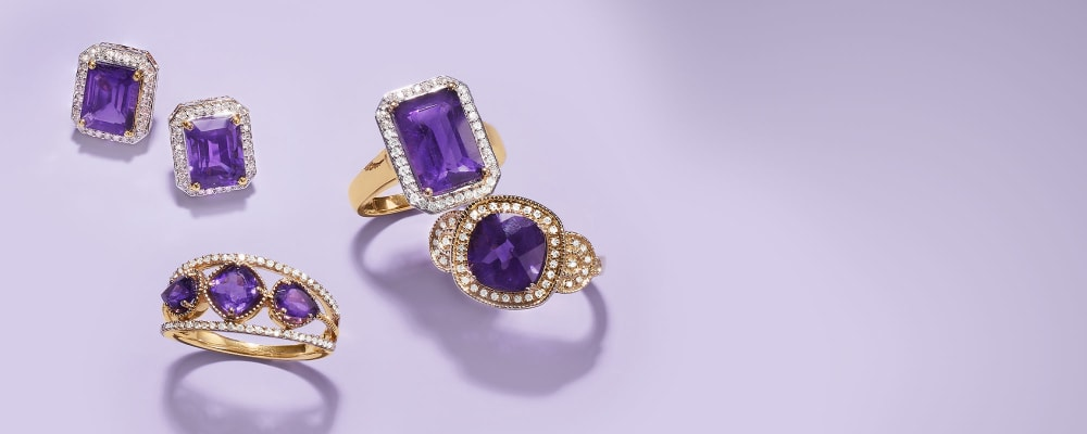 Alluring Amethyst. Embrace This Popular Gem's Regal Hue. Amethyst ring, necklace, pendant and bracelets are pictured.