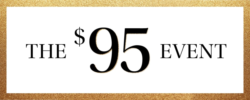 The $95 Event. Image Background Image Featuring Gold Sparkly Border
