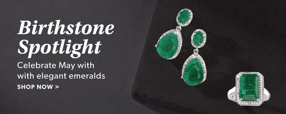 Birthstone Spotlight. Celebrate May With Elegant Emeralds. Shop Now. Image Featuring Gemstone Earring and Ring on Black Background