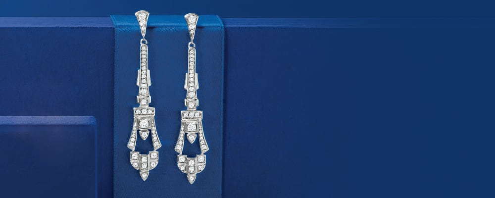 Diamond Earrings. So Many Dazzling Picks. Image Featuring Diamond Drop Earrings on Deep Blue Background