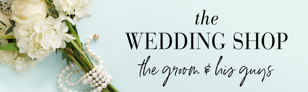 The Wedding Shop -- The Groom and His Guys. Image of flowers wrapped with pearl strands.