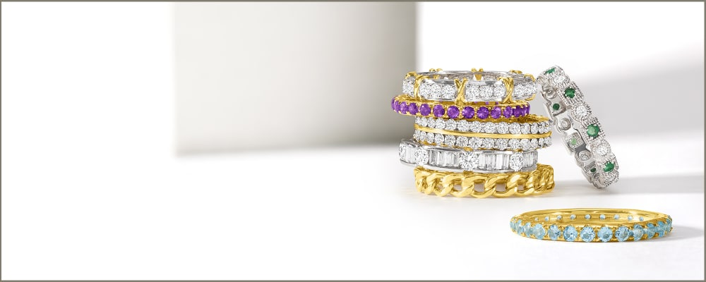 Eternity Bands. Timeless Rings You'll Never Take Off. Image Featuring Eternity Stack on Each Other