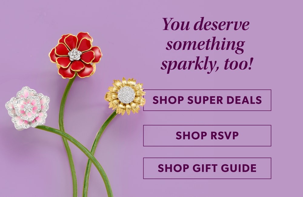 You deserve something sparkly, too! Image of three flower pins.