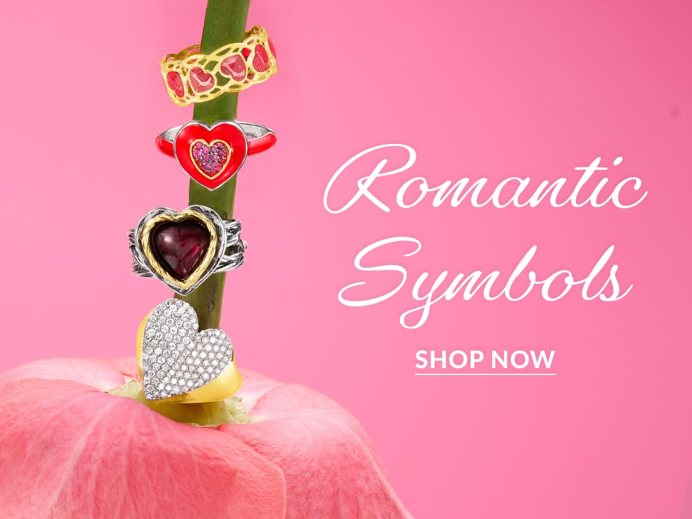 Romantic Symbols. Image with five heart rings. Shop Now.