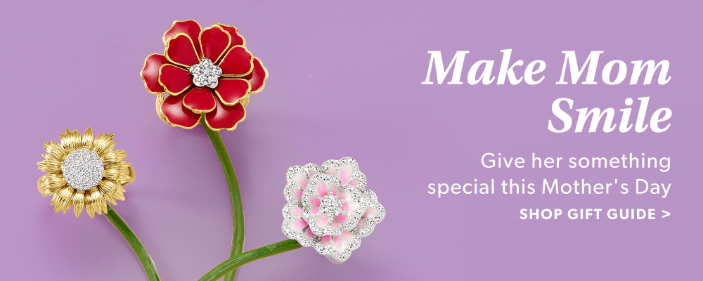 Make Mom Smile. Give Her Something Special This Mother's Day. Shop Gift Guide. Image Featuring Enamel Flowers on a Light Purple Background