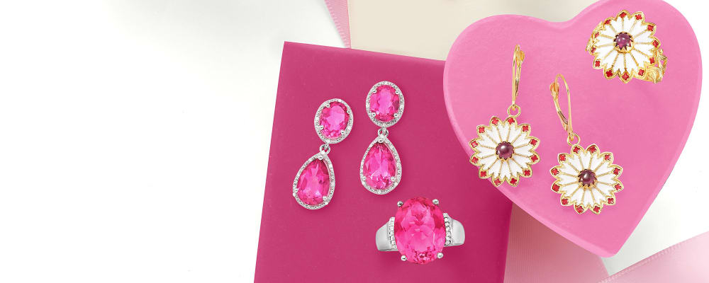 Hot Pink Jewels. The Brightest And Sweetest Of Them All. Image featuring 3 pink rings and a pink bracelet
