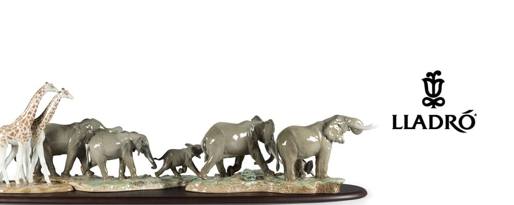 Lladro. Image of porcelain African wildlife.