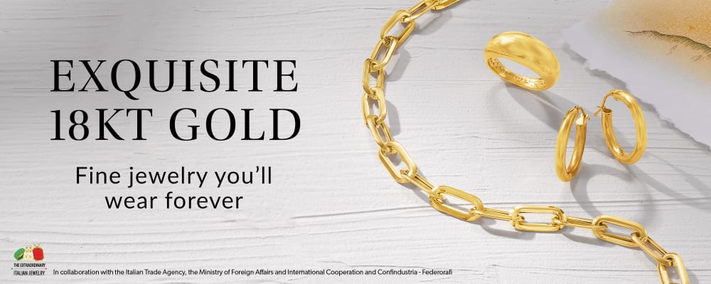 Exquisite 18kt Gold. Fine Jewelry You'll Wear Forever. Image Featuring 18kt Gold Ring, Bracelet and Earrings
