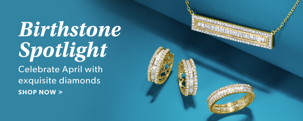 Birthstone Spotlight. Celebrate April With Exquisite Diamonds. Shop Now. Image Featuring Diamond Jewelry on Light Blue Background