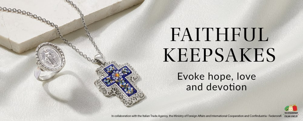 Faithful Keepsakes. Evoke Hope, Love And Devotion. Image Featuring Cross Pendant and Ring on White Background