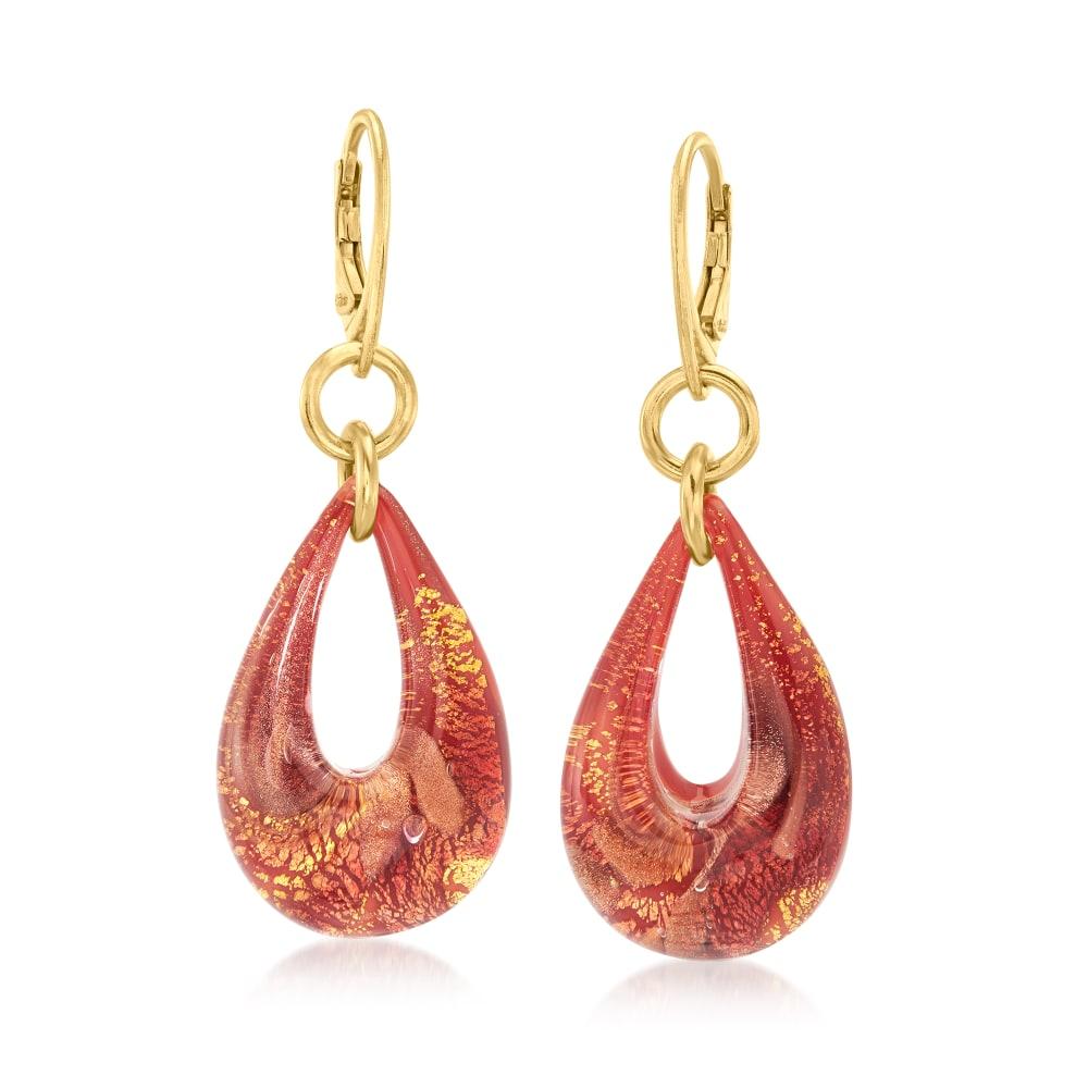 Stunning 18KT plated red glass dangle earrings
