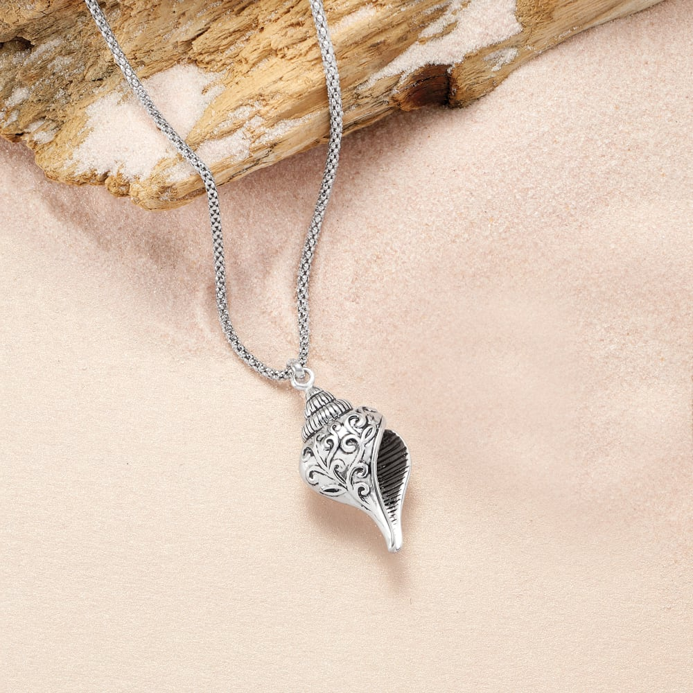 Seashell pendant in silver chain Seashell necklace long silver chain Seashell pendant Gift for her
