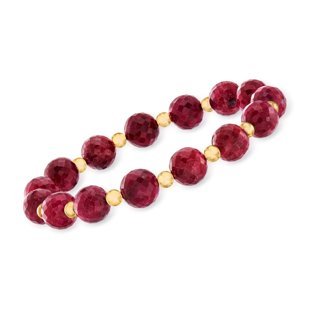 Pink Ruby Gemstone Stretch Bracelet