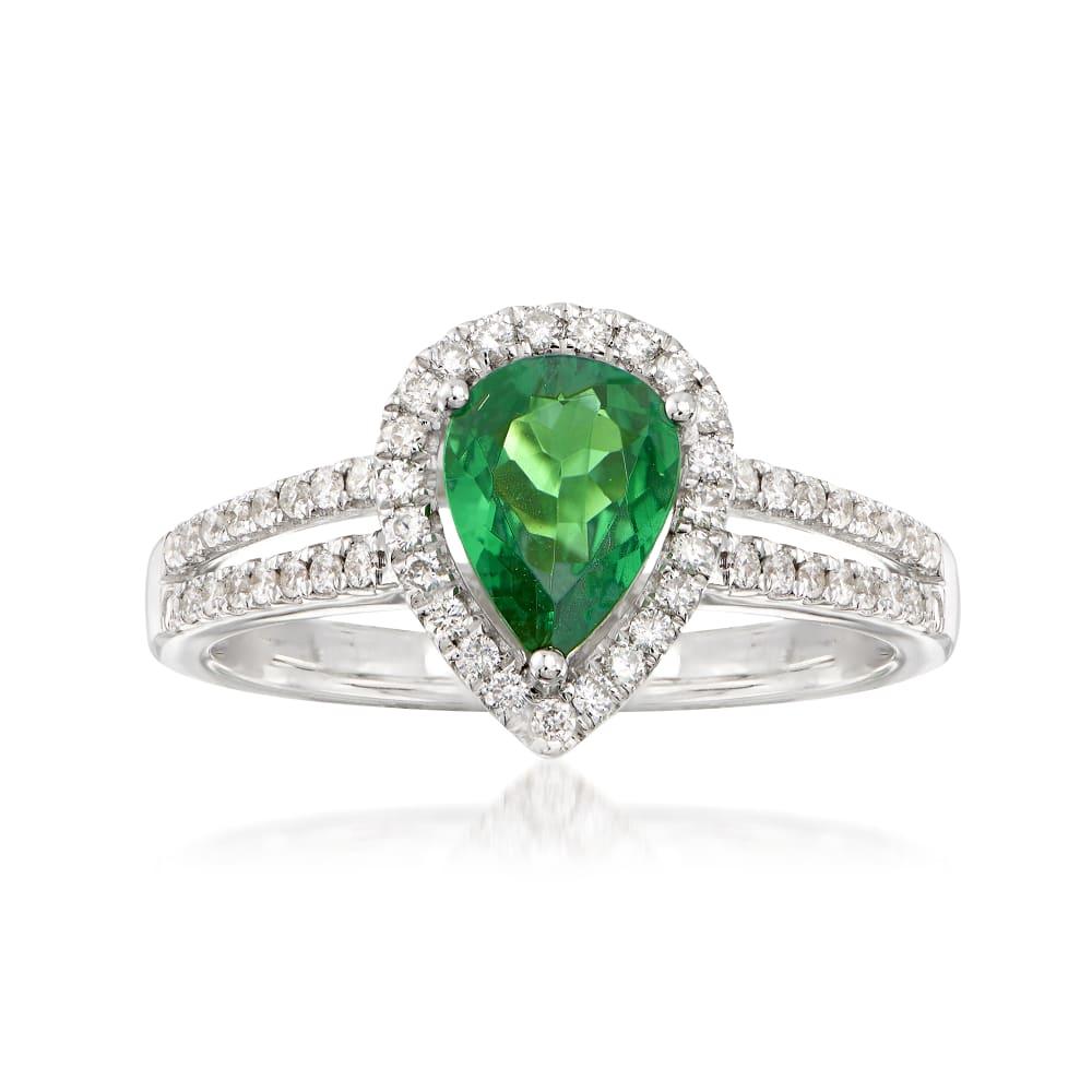 14K Yellow Gold Diamond And Tsavorite Ring Elegant Gemstones Ring 1.00 carat