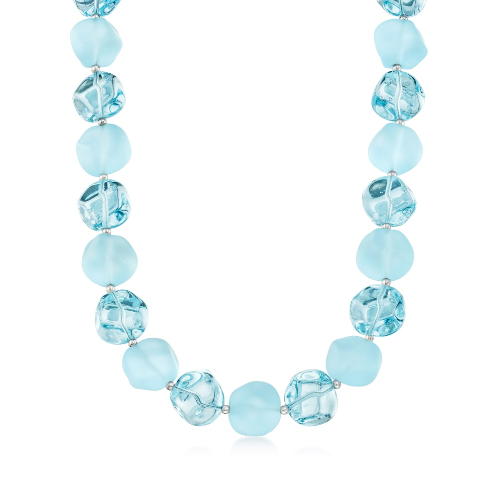 Blue and Green Italian Glass Bead Necklace