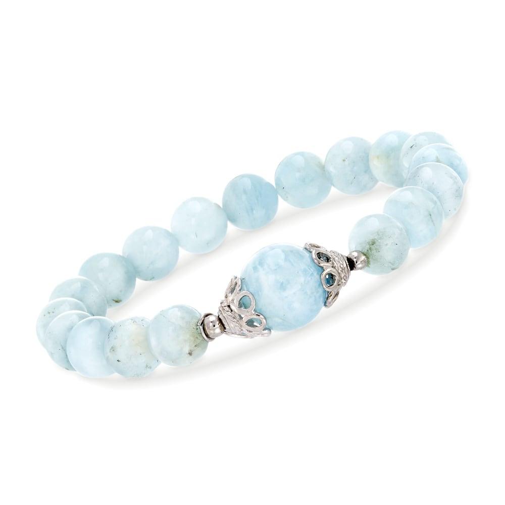 Aquamarine Beaded Stretch Bracelet Men/'sWomen Bracelet Calming Good Luck Stone 13x14mm Blue Aquamarine Cushion Bead Bracelet Cleansing