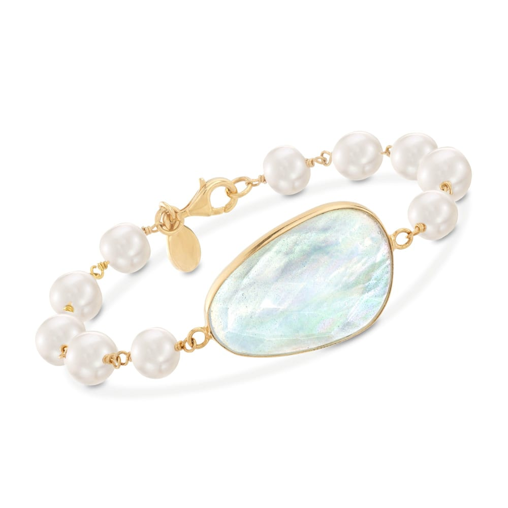 Golden rush bracelet with small marius mother-of-pearl