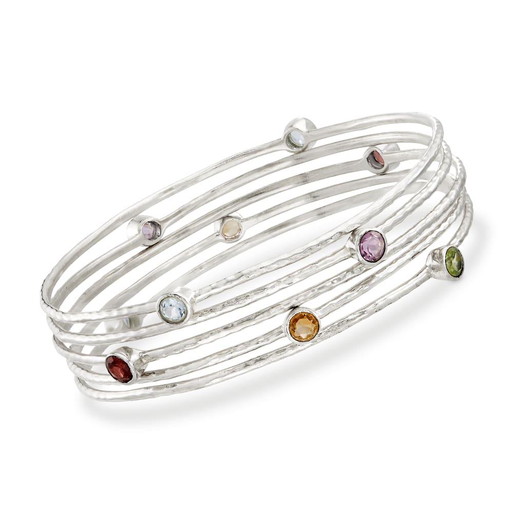 Multi Gemstone Beaded Bracelet Red Gemstone Bracelet Sterling Silver Adjustable Bracelet