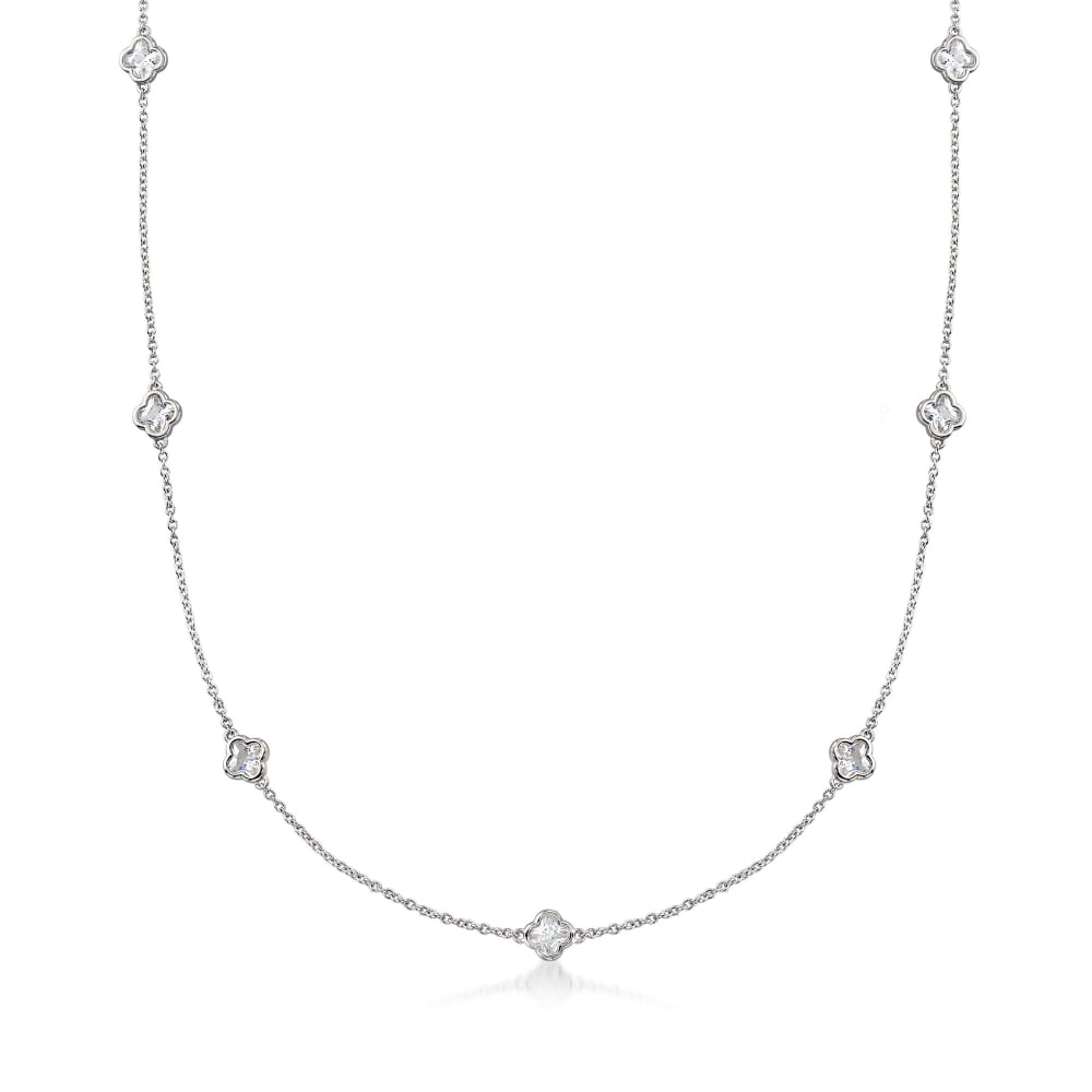 Sterling Silver and CZ Station Necklace Around The Clock Wear