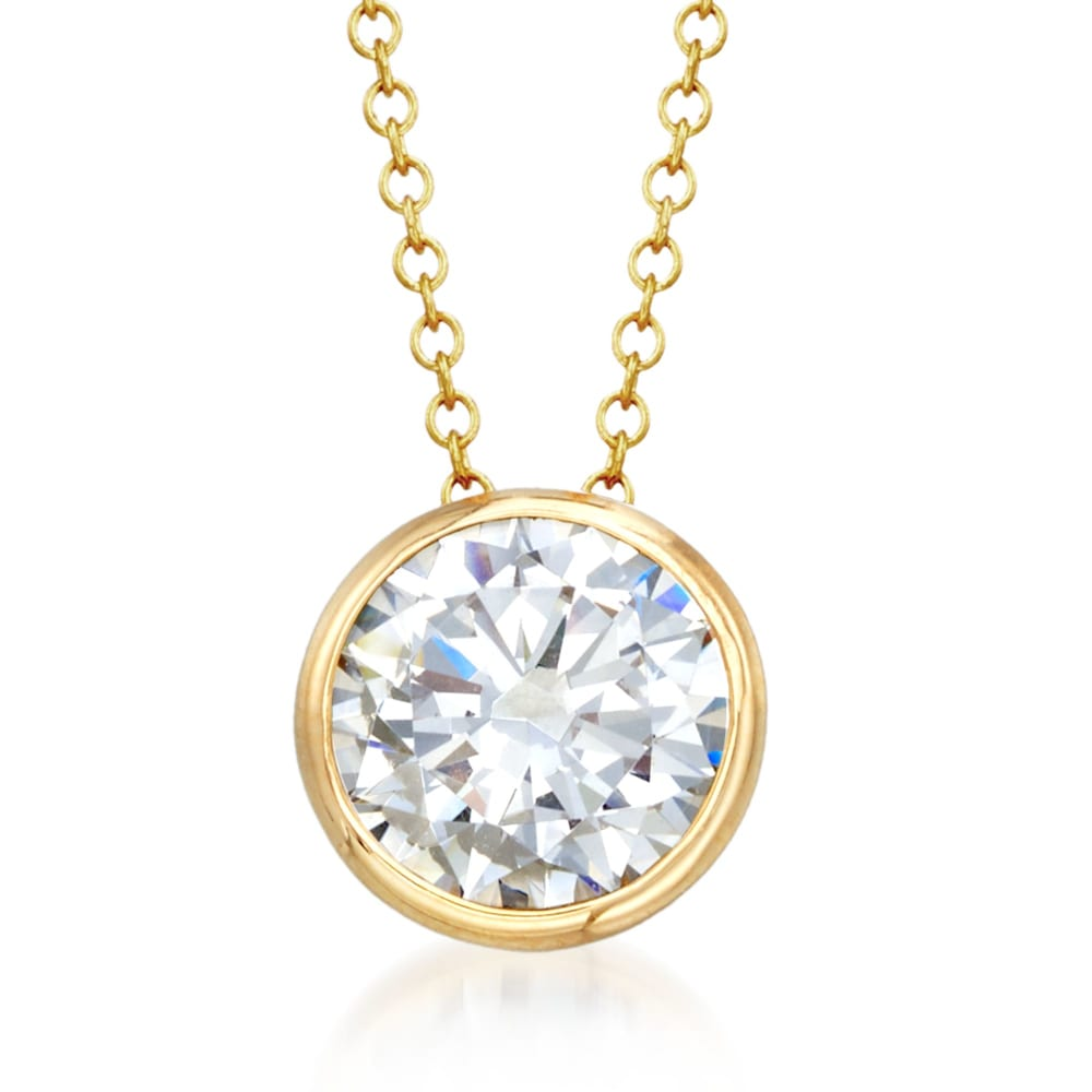 CZ Solitaire Necklace  Sterling Silver CZ Necklace  Bezel Set Birthstones Necklace  Solitaire Pendant  Everyday Necklace Gift for Her