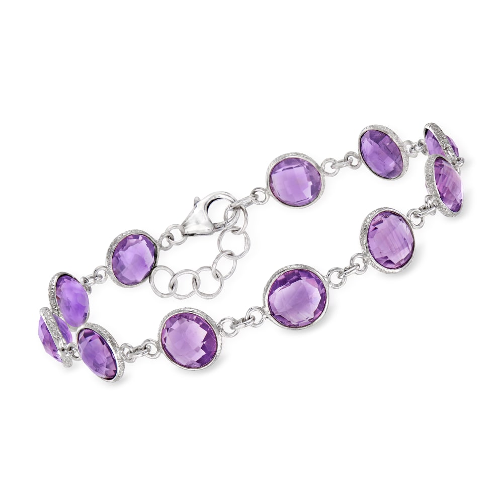 Three strand multi stone bracelet with Sterling Silver Amethyst accented box clasp
