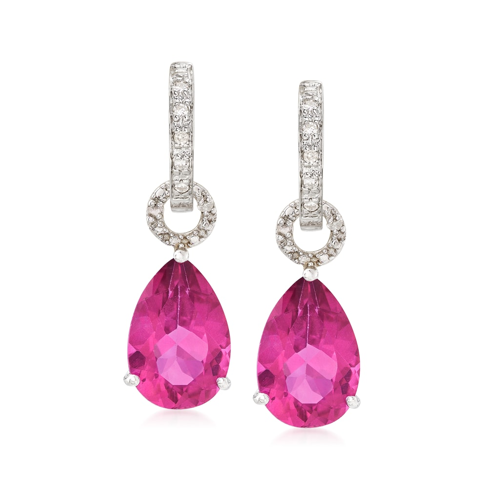 Details about  /925 Sterling Silver Rhodium-plated Pink Topaz Earrings