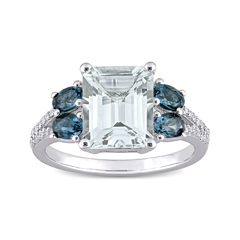 Blue And White Diamond Flower Sterling Silver Ring 1.00 Carat T.W
