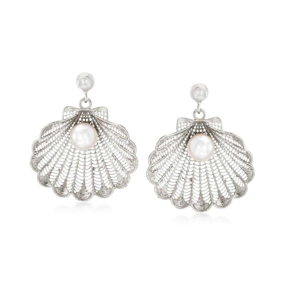 Silver Scallop Seashells with Pearl Drop Earrings