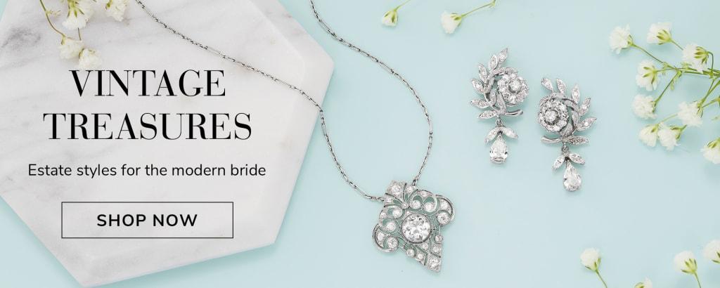 Vintage Treasures. Estate styles for the modern bride. Image of vintage pendant, earrings and bracelet.
