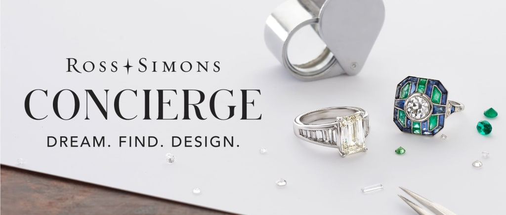 Ross-Simons Concierge -- Dream. Find. Design. Image of two rings and loose gemstones.