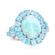 Larimar and 2.20 ct. t.w. Blue Topaz Ring in Sterling Silver