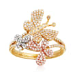 .50 ct. t.w. Diamond Butterfly Ring in 14kt Tri-Colored Gold