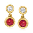 .50 ct. t.w. Ruby and .25 ct. t.w. Diamond Drop Earrings in 14kt Yellow Gold