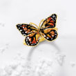 Italian 18kt Yellow Gold Butterfly Ring with Enamel