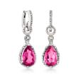 7.55 ct. t.w. Pink Topaz and .16 ct. t.w. Diamond Hoop Drop Earrings in Sterling Silver