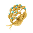 C. 1970 Vintage Turquoise Leaf Pin in 18kt Yellow Gold