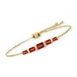 2.70 ct. t.w. Garnet Bolo Bracelet in 18kt Gold Over Sterling